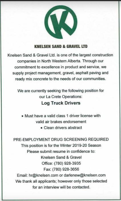 Knelsen Sand & Gravel-Log Truck Drivers-BDB October 1, 2019