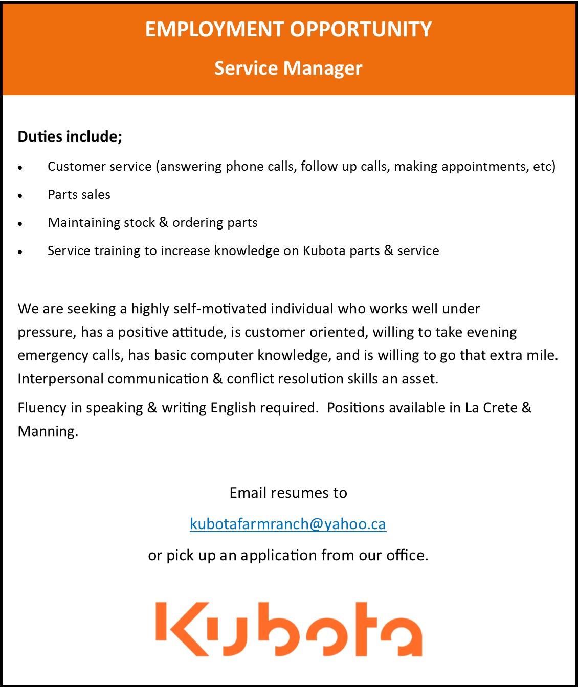 Kubota March 2017 Job Ad Updated