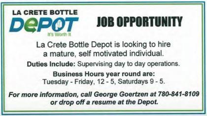 La Crete Bottle Depot-Supervisor-BDB November 1, 2019