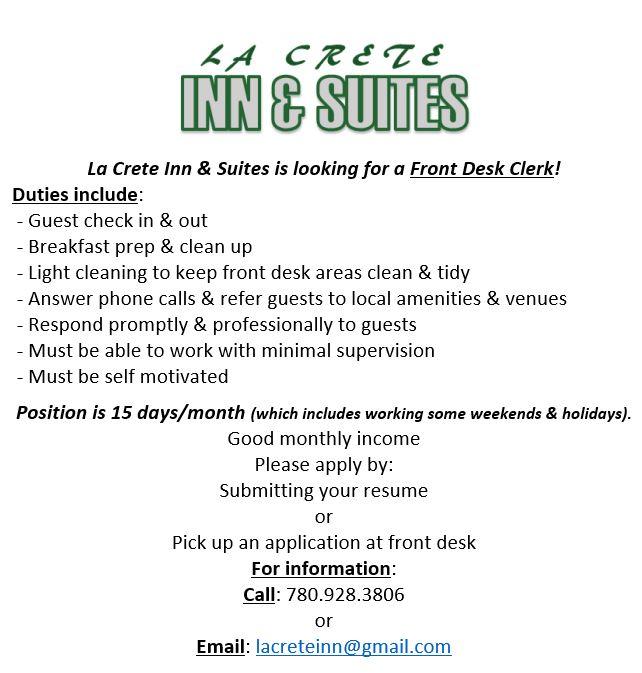 La Crete Inn & Suits - Front Desk Clerk