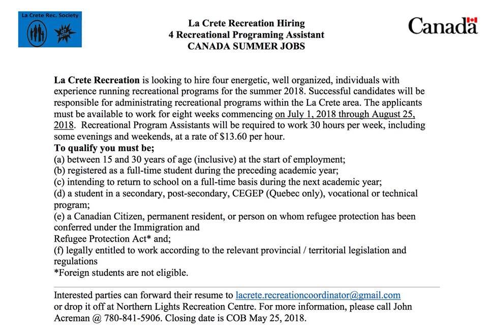 La Crete Recreation Summer Jobs