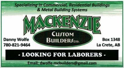 Mackenzie Custom Builders-Laborers