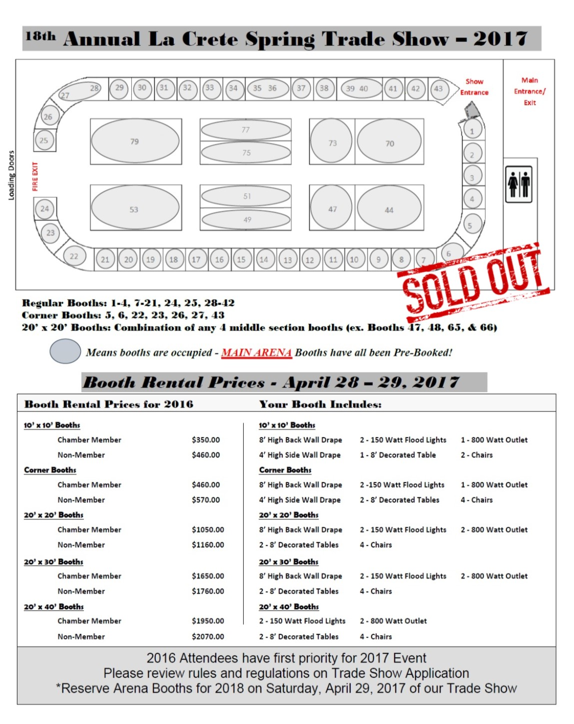 Main Arena Layout & Booth Pricing 2017 SOLD OUT