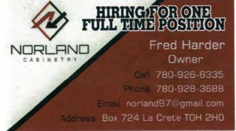 Norland Carpentry JOb Ad