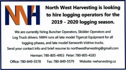 North West Harvestion-Buncher, Skidder, Log Truck Operators-BDB-July 16, 2019