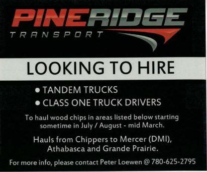 Pineridge Transport-Tandem Trucks-Class 1 Truck Drivers-BDB July 16, 2019
