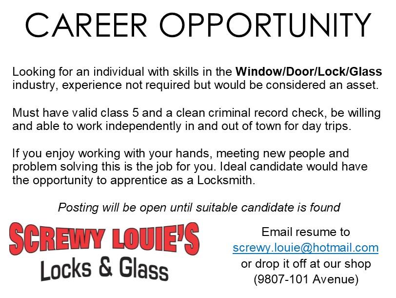 Screwy Louie's Window Door Lock Glass Industry May 2018 Job Ad