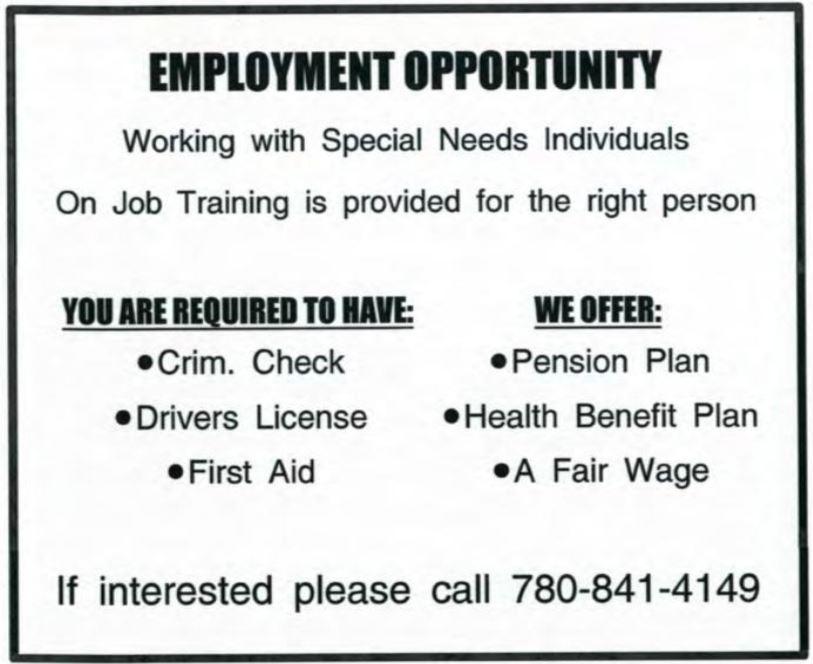 Special Needs Job Ad