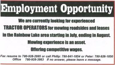 Tractor Operators-Mowing Roadsides-Rainbow Lake-Employment Ad-BDB June 1-15, 2017