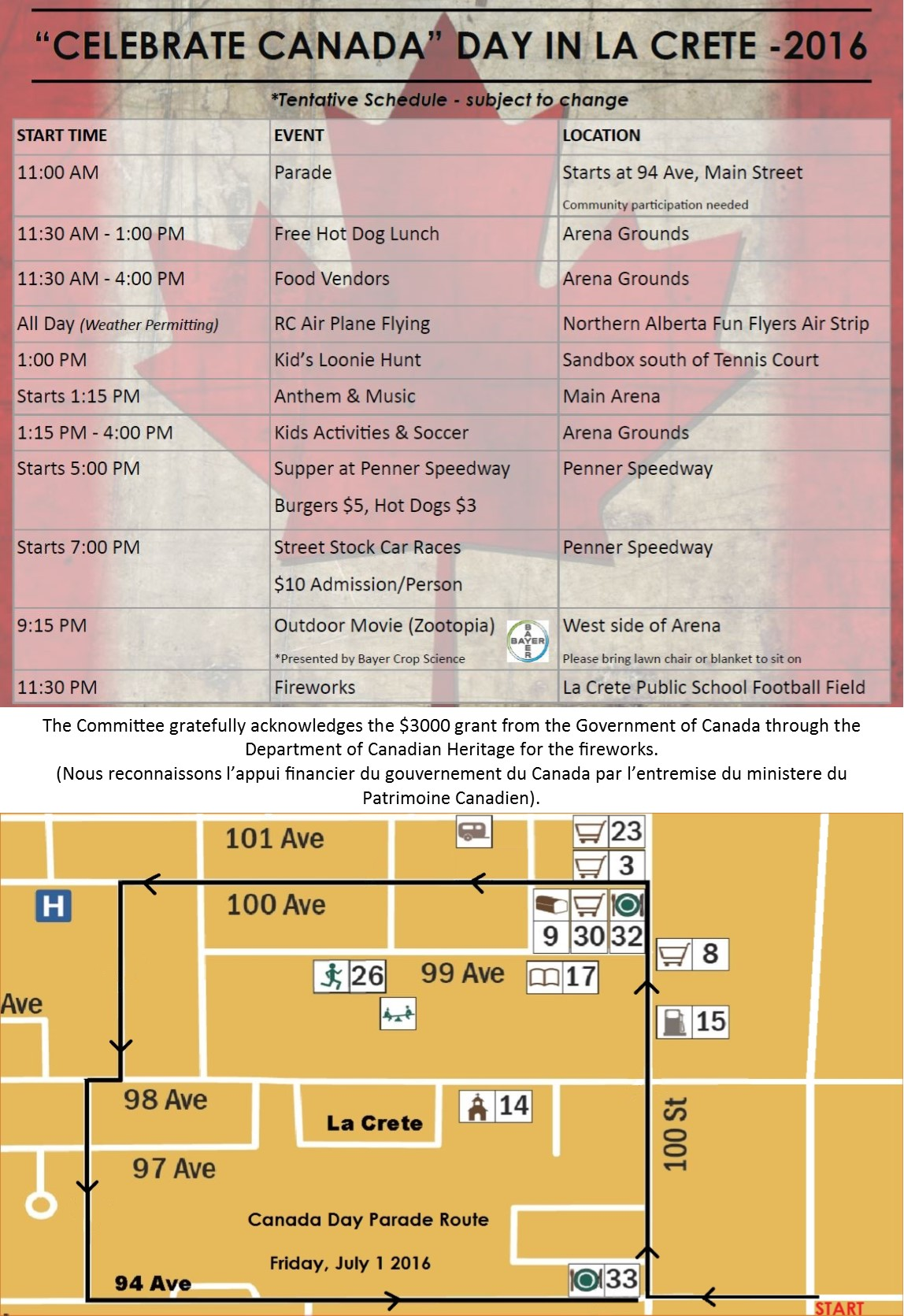 2016 Canada Day Schedule and Map with French