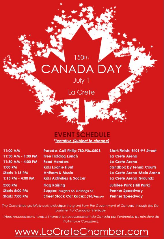2017 Canada Day Schedule-June 20-945 AM