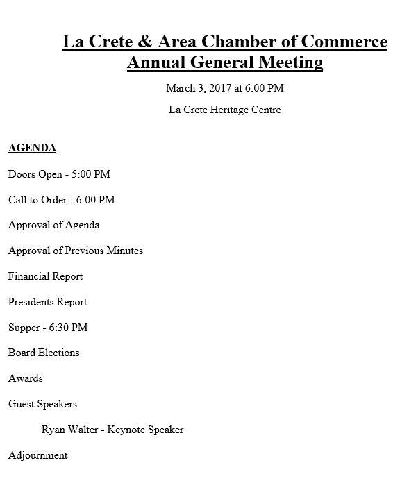 2017 AGM Agenda