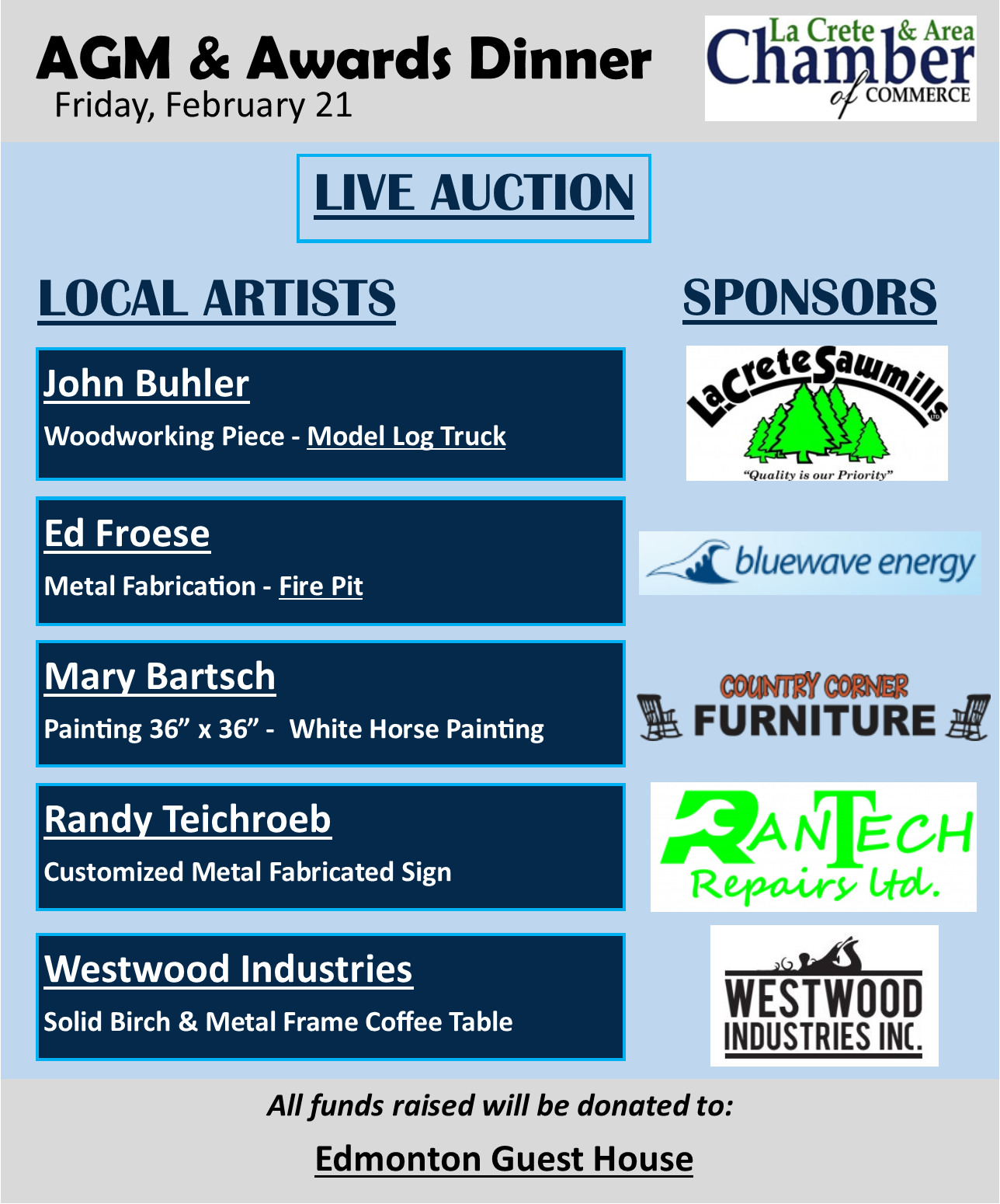 Live Auction Fundraiser-Artists Sponsors