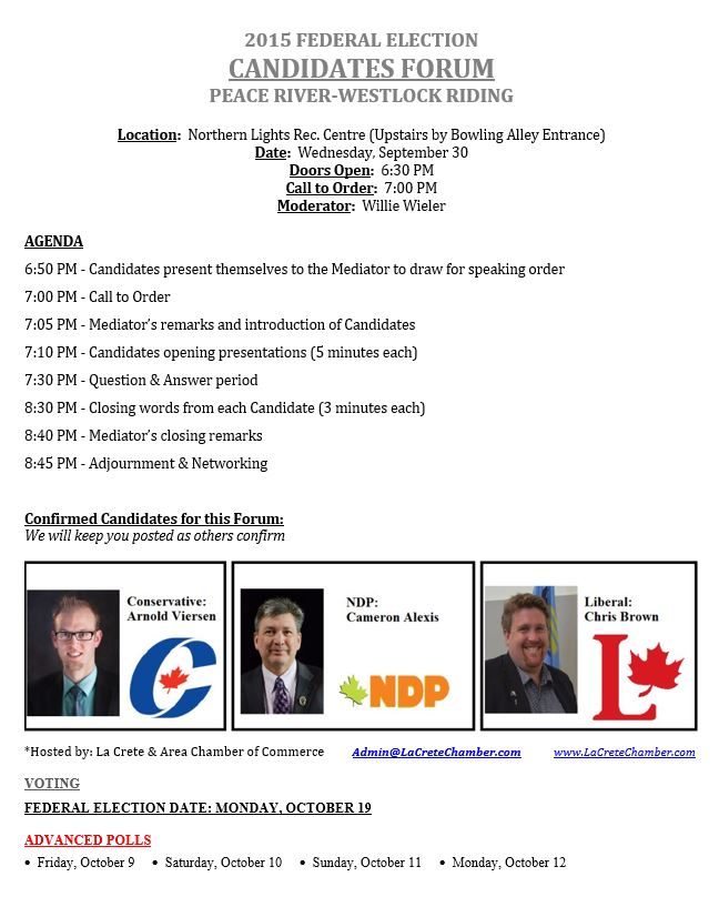 2015 Federal Election Candidates Forum-September 30