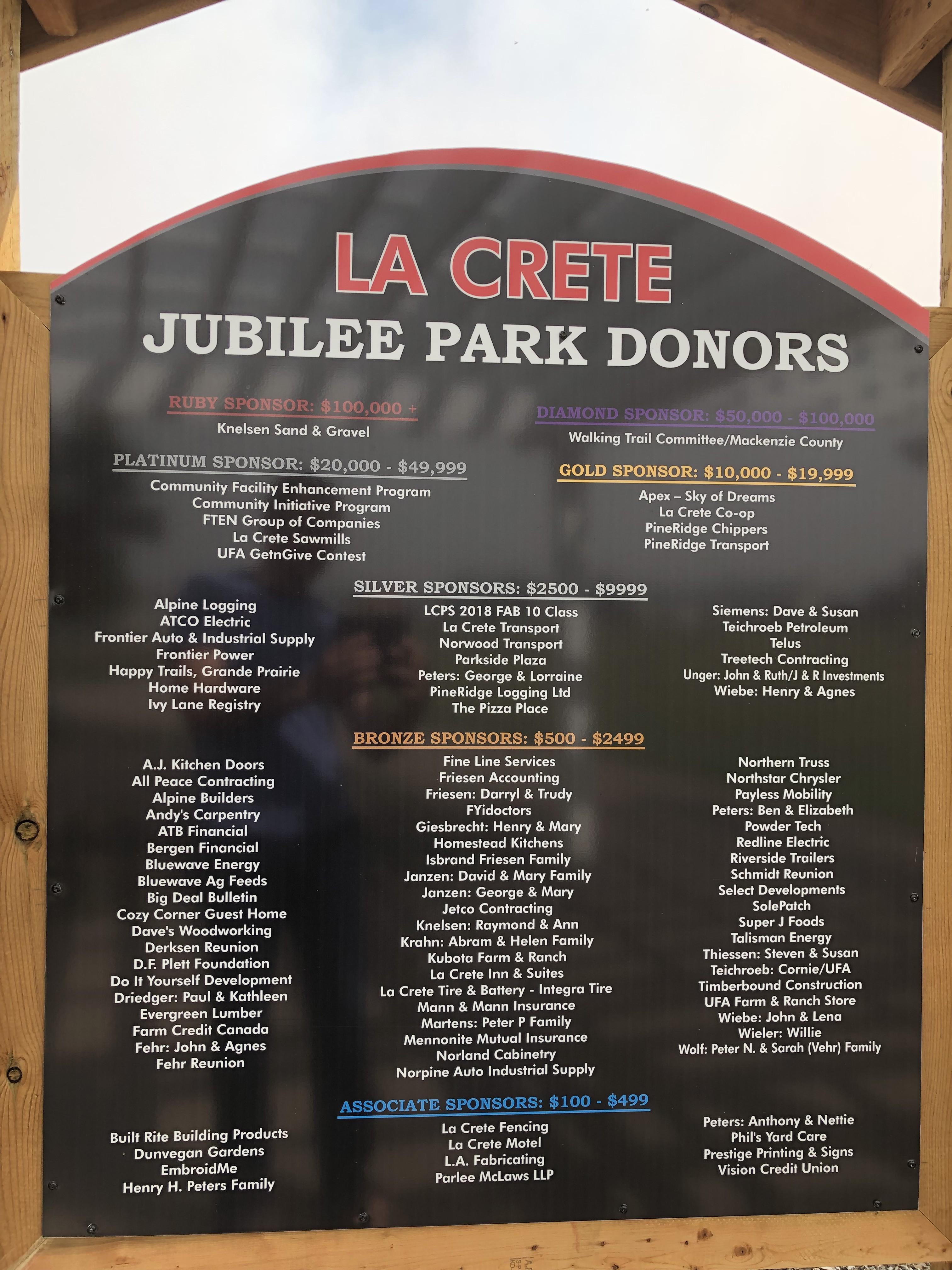 Jubilee Park Sponsorship Plaque