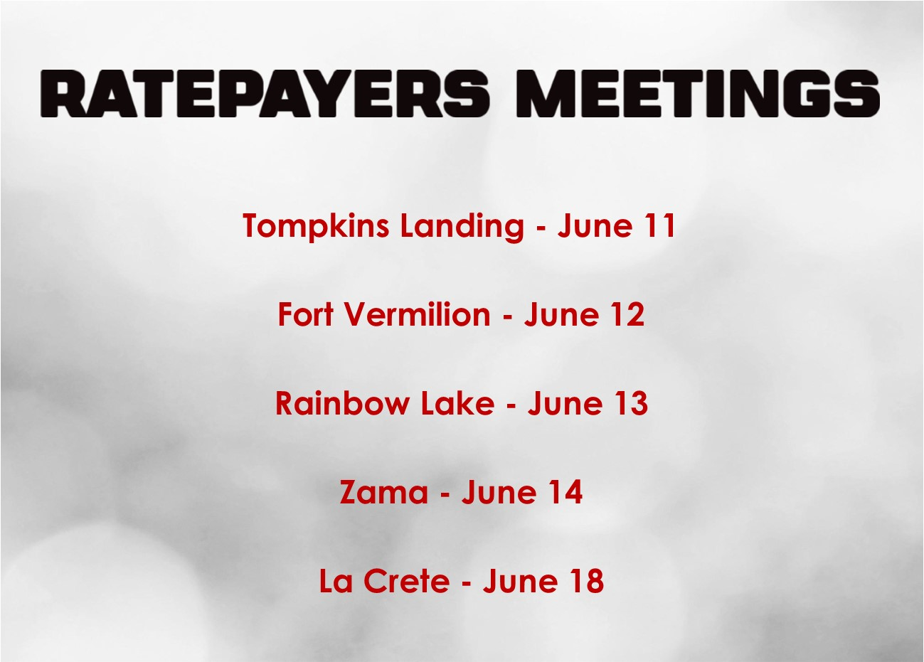 Ratepayers Meetings 2018