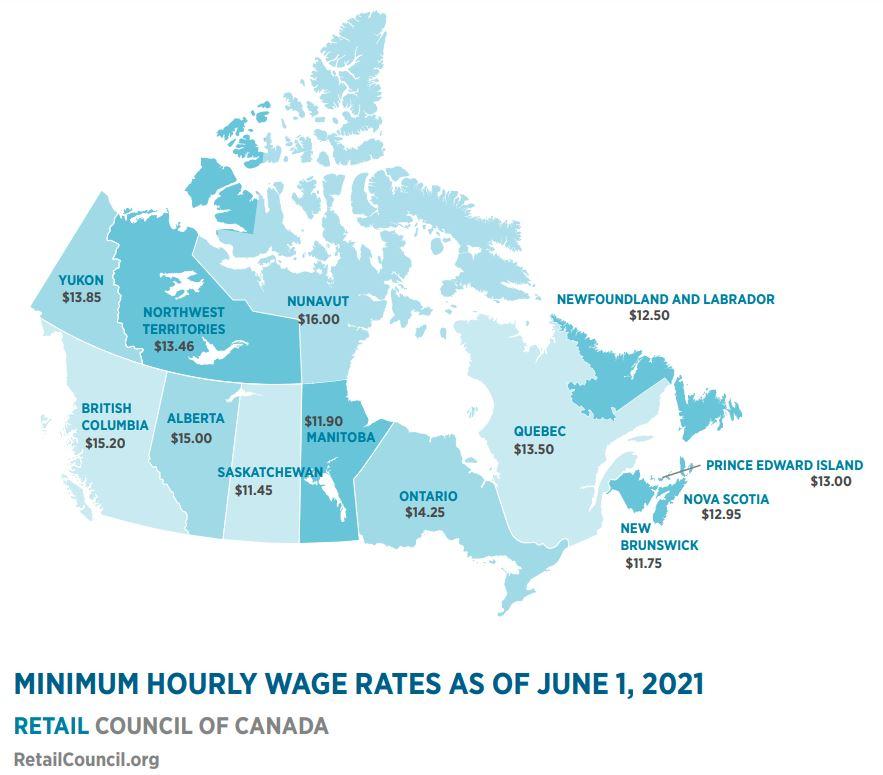 Minimum Wage Map 2021 06