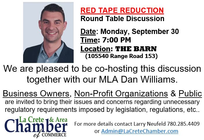 Red Tape Reduction Round Table with Dan Williams September 30